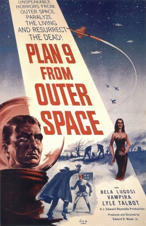 """""""PLAN 9 FROM OUTER SPACE"""" in large red letters adorns a beam from a night sky containing spacecraft and warplanes. The foreground has the head of a man in a bubble-headed red spacesuit, a caped vampire attacking a victim, a seductive vampiress, and gravediggers at work. Above the title is """"UNSPEAKABLE HORRORS FROM OUTER SPACE PARALYZE THE LIVING AND RESURRECT THE DEAD!""""; below are """"BELA LUGOSI"""", """"VAMPIRA"""", and """"LYLE TALBOT"""". This movie poster is cheaply printed: the only colors are blue, red, and the yellowed background."""